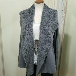 Faded Glory Gray Faux Sherpa Wide Collar Jacket M